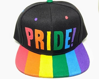 Pride Gay LGBTQA+ Queer Rainbow Flag Snapback Hat Gay Pride Hat Queer Pride Hat Lesbian Pride Hat LGBT Gay Rainbow Snapback Hat Love Wins