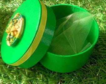 Hand painted gift box, green, ribbon and cameo