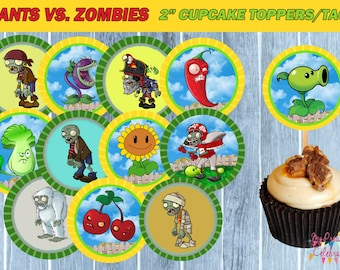 PLANTS vs ZOMBIES TAGS- Cupcake Toppers - Plants vs Zombies birthday party favors