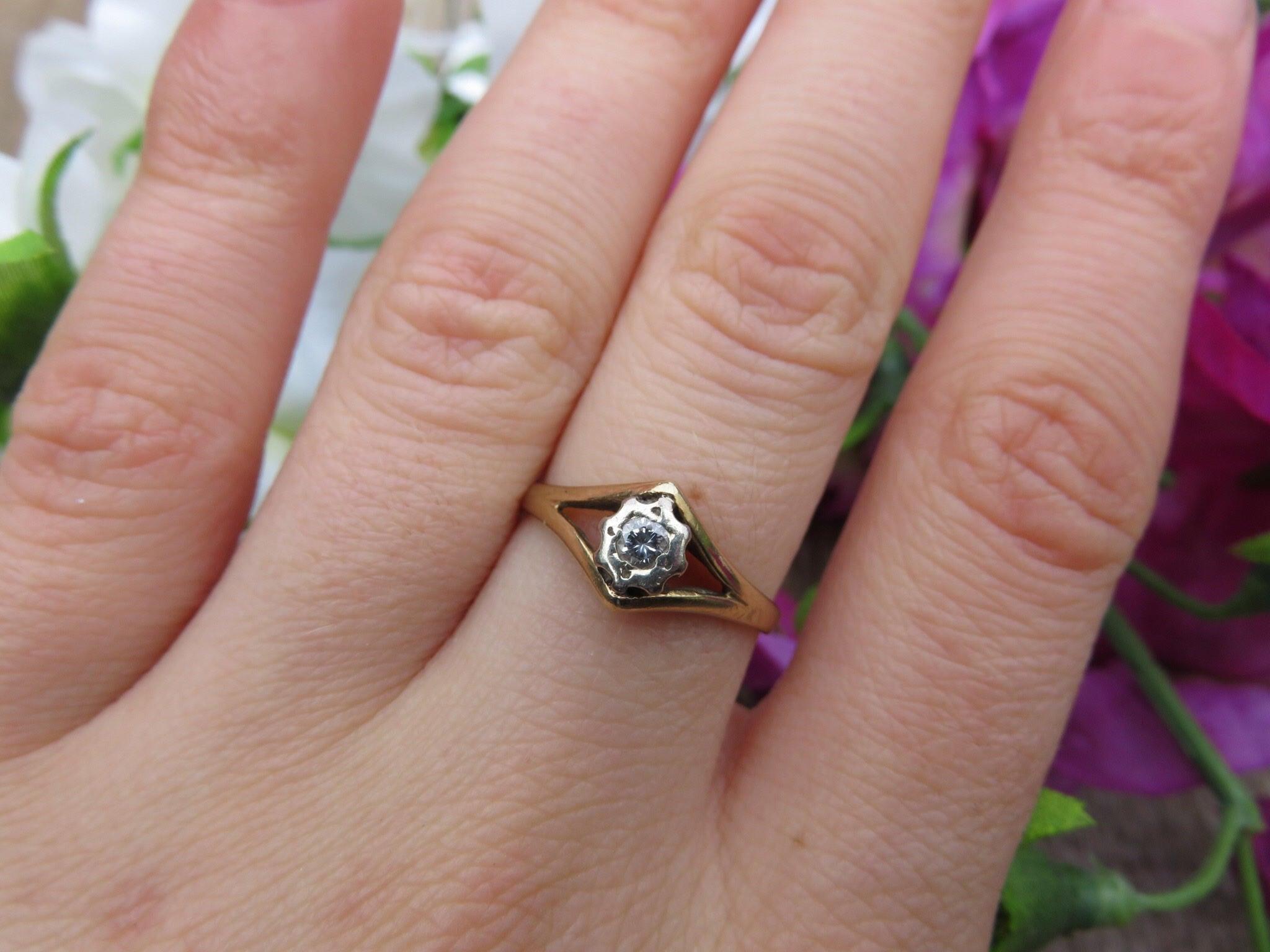 Vintage 9ct Gold Diamond Ring Size K Engagement Ring Art