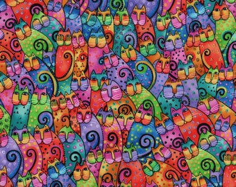 RARE Laurel Burch Fanciful Felines and Canines Cats 1/2 Yard Fabric