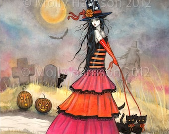 A Halloween Stroll Fantasy Art Original Witch Cat Halloween Archival Giclee Print 9 x 12