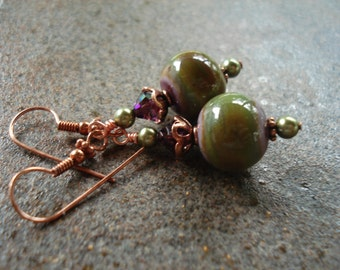 Amethyst and Green Art Glass Earrings - Lampwork Earrings - Fall Colors - Copper - Fall Earrings - Handcrafted - Artisan