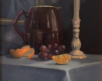 "Oil Painting 11"" x 12"" / Still-Life with Candle"