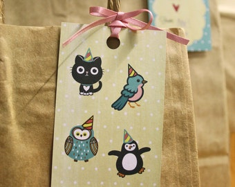 Gift tags cute party animals - pack of 8