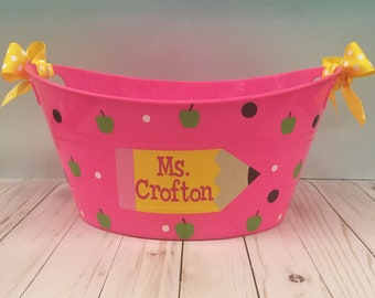 Personalized oval tub, Teacher gift, End of School Year, Name, Personalized storage bin, personalized bucket, Pencil teacher bucket