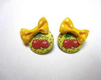 Cherry Earrings  Yellow Bow Post Earrings