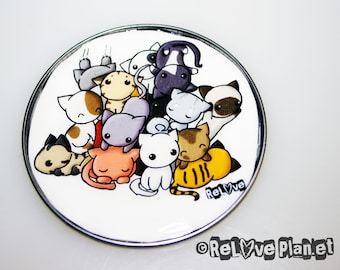 """Pile of Kitties Cat Large 3"""" MAGNET - kawaii kitty Animals Happy - ReLove Planet"""