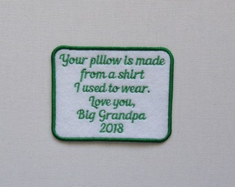 Your Pillow is made from shirt I used to wear-Black Red Blue Pink Purple Green Orange Text Color-SEW ON Memory Patch -Custom Wording Welcome