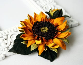Yellow Leather Sunflower Flower Brooch/Hair Clip