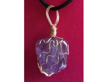 Amethyst Pendant, Handmade, Wire Wrapped Crystal (Copper Wire #1)