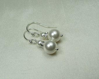 Pearl Bridal Earrings - Bridesmaid Jewelry - Swarovski Crystal Pearl Earrings - Bridesmaid Earrings - Bridesmaid Gift - Wedding Jewelry