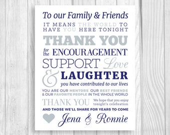 Custom Printable To Our Family and Friends 5x7, 8x10 Navy Blue and Gray Wedding Thank You Sign - Personalized with Bride & Groom's Names