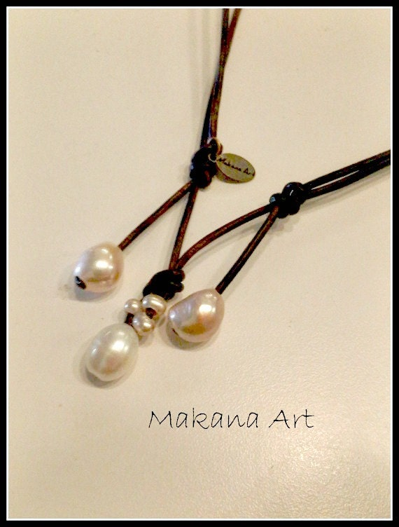 White n Cream Adjustable  Pearl Leather Necklace - pearl - engagement - wedding - personalized - jewelry
