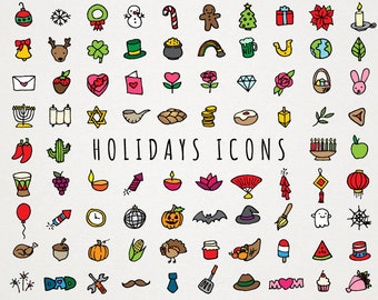 Holiday Icons Clipart Set - all holidays, christmas icons, hanukkah icons, halloween, st patrick's day, valentine's day, diwali, kwanzaa