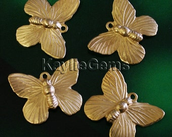Brass Stamping Butterfly Charm 1 Ring Brass Made in USA - G1291RB - 4pcs