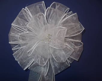 Wedding Pew Bow With Irridescent Tulle and With Bling in Center