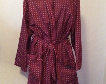 1980's Vintage Mens Smoking Jacket Robe Made in New Zealand  Dressing Gown by Klipper M