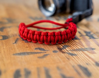 Camera Wrist Strap – Red / Black Steel Clip - apmots - Sling Paracord Mirrorless DSLR Compact