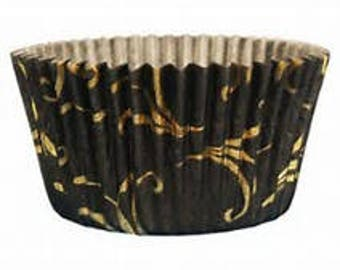 100 ct Black and Gold SWIRLCupcake liners