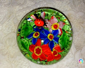 Colorful Floral Paperweight with Glass Ladybug on the Outside