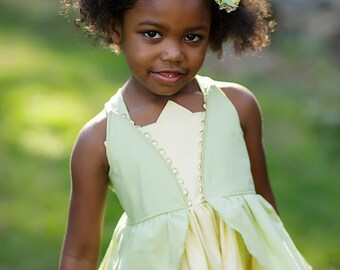 Girls Tiana Twirl Dress, Everyday Princess Tiana Dress inspired by Disney's Princess and the Frog , sizes 2T-8 girls, 10-12