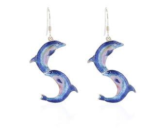 Enamel earrings-Dolphin earrings-Handmade earrings-gifts for lady