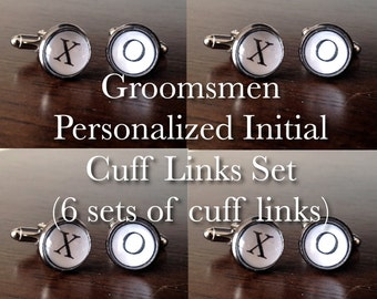 Groomsmen Initial cuff links // typewriter cufflinks // groomsmen cufflinks (6 sets for wedding)