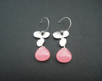 orchid flower cascading earring with bubble gum pink smooth jade briolette