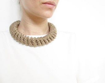 Champagne Rope necklace Champagne statement necklace Champagne KnotNecklace