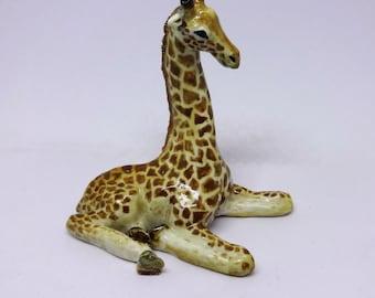 Giraffe handmade porcelain sculpture, original ceramic art