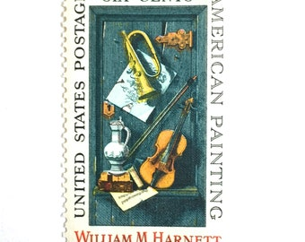 10 Unused Vintage Postage Stamps // 1960s Vintage American Painting of Classical Music Instruments // Blue 6 Cent Stamps for Mailing