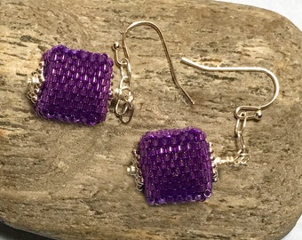 Violet Bead Earrings Beaded Cube Earrings Purple Bead Earrings Beaded Cube Dangles Red Violet Earrings Cube Earrings Cube Dangle Earrings