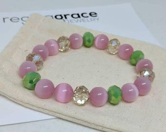 Pink and green bracelet with champagne crystals