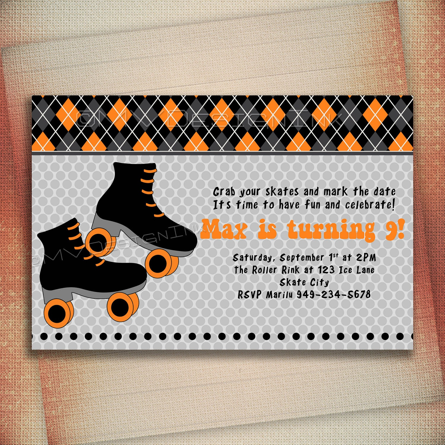 Boys Roller Skating Party Invitations Roller Skate Birthday
