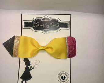 Back to School pencil glitter Hair bow