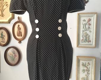 Vintage 1980s My Michelle black dress with white polka dots and buttons puff sleeve, tailored waist