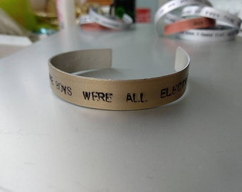 Arctic Monkeys, Alex Turner handstamped bracelet, bangle, jewellery, fluorescent adolescent, remember when the boys were all electric?