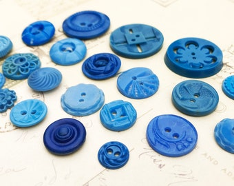 Vintage Buttons Early Plastic Buttons Blue Vintage Pierced Buttons House Dress Sewing Buttons Unique Button Collection - B181