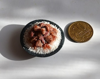 Dollhouse realistic food , miniature food , realistic miniatures, Miniature meat,rice, 1:12 Scale, Incredible Detail