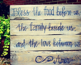 Custom Prayer Blessing Distressed Wood Sign Rustic Home Decor Painting Art Bless the Food Barn Wood