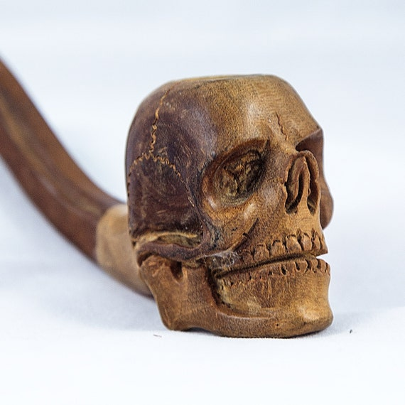 Wooden skull pipe tobacco smoking pipes wood