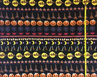 "Halloween Stripe on cotton lycra knit fabric 58"" wide"
