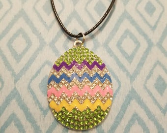 Easter Egg Necklace,  Enamel, Rhinestone,  Silvertone