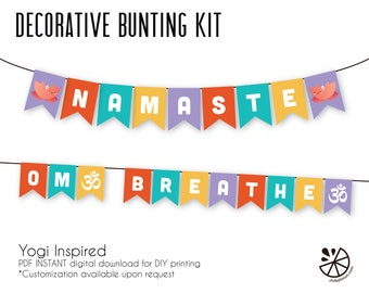 Namaste Breathe Om Yoga Bunting Banner Printable INSTANT DOWNLOAD