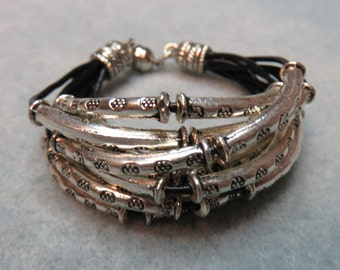 Silver Tube Bracelet on Leather Cord