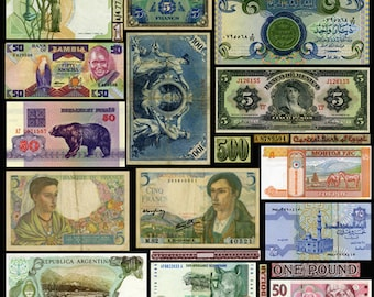 Collage Sheet - Old Currency Banknotes - Collage, Decoupage, Scrapbooking