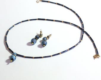 Dark Aqua Simple Necklace, Gold and aqua Beaded Necklace and Matching Earrings