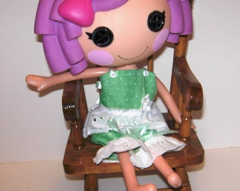 """2 piece green outfit with lace for 13"""" LaLaLoopsy dolls."""