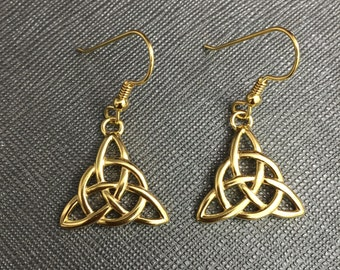 Celtic Trinity Knot Earrings, Sterling Silver with 24K Gold Plate Overlay, Sterling Silver, Handmade Irish Trinity Knot Earrings 24K GP